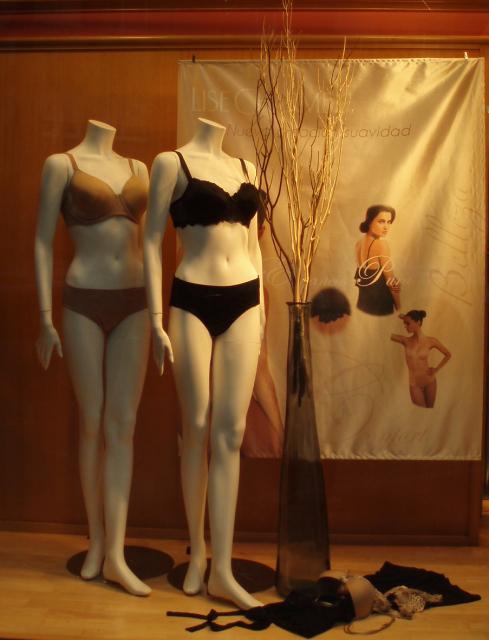 Escaparate con colecciones de la marca Lise Charmel en Pespunttes moda intima en Gijón