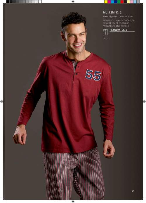 pijama de hombre con pantalon de tela de rayas