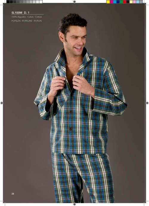 pijama de tela de cuadros de hombre
