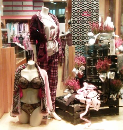 Escaparate con pijamas y batas de Promise y conjunto especial tallas grandes de Antinea de Lise Charmel