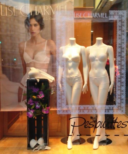 Escaparate en Pespunttes con las colecciones de novia 2013 de Lise Charmel y Antigel
