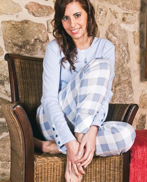 pijama_celeste_cuadros_mujer_parami